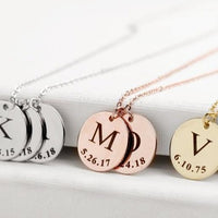 FLASH SALE Personalized Coin Necklace Initial Disc Pendant Necklace Initial Necklace Letter Monogram Jewelry Engraved Necklace for Women Gift
