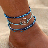 Silver Wave Charm Ankle Bracelet Blue Foot Accessories Anklets for Women Foot Bracelet Fashion Anklet Summer Foot Jewelry Adjustable Anklet Three Piece Anklet Set