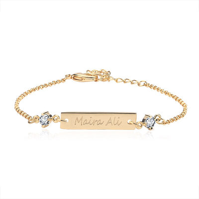 Customized Crystal Bar Bracelet Personalized Engraved Bracelet Custom Name Jewelry Engraved Bracelet for Women Keepsake Gift