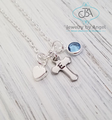 Personalized Cross Necklace Silver Cross Pendant Christening Gift