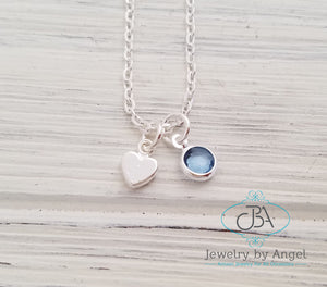 Silver Heart Necklace, Dainty Birthstone Necklace