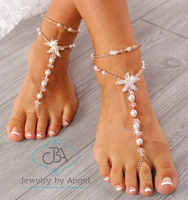 Starfish Barefoot Sandals Rose Gold Foot Jewelry Beach Wedding Sandals Gold Barefoot Sandals