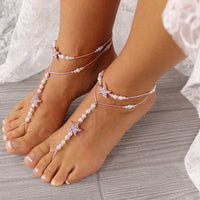 Gold Wedding Barefoot Sandals, Bridal Foot Jewelry, Beaded Barefoot Sandals