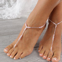 FLASH SALE Blush Pink Barefoot Sandals Beach Wedding Footless Sandal  BFS11