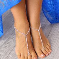 Simple Gold Barefoot Sandals Beach Wedding Sandals Beaded Foot Jewelry BFS8