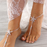 Something-Blue-Starfish-Barefoot-Sandal-Bridal-Footless-Sandal Beach Wedding Sandals