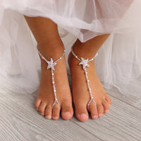 baby-barefoot sandals-flower-girl-foot-jewelry-starfish-barefoot-sandals