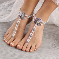 beaded barefoot sandals wedding foot jewelry pearl foot jewelry anklet