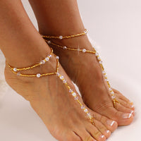 Gold Beaded Barefoot Sandals Wedding Barefoot Sandal, Gold Bridal Foot Jewelry, Destination Wedding