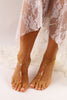 Gold Barefoot Sandals Beaded Wedding Sandal Bridal Foot Jewelry Gold Footless Sandals BFS22