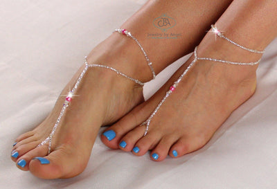 Beaded Barefoot Sandal and Anklet Set Foot Jewelry