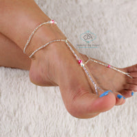 Flash Sale  Beaded Barefoot Sandal and Anklet Set Foot Jewelry