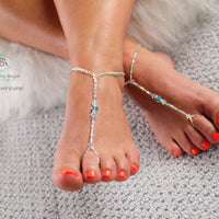 Turquoise Crystal Beaded Barefoot Sandal Foot Bracelet Wedding Foot Jewelry Beach Wedding Barefoot Sandals