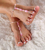 Pink Crystal Barefoot Sandals Pink Beaded Foot Jewelry