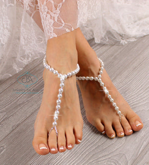 Baby Barefoot Sandals Kids Foot Jewelry Beaded Foot Sandals