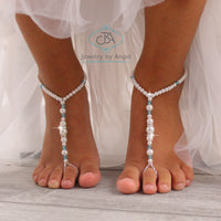Pearl Barefoot Sandals Baby, Toddler Foot Jewelry, Beaded Barefoot Sandals, Wedding Foot Jewelry
