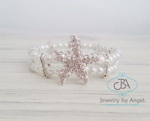 Starfish Beach Wedding Bracelet, Pearl Starfish Bracelet, Starfish Jewelry, Silver Starfish Bracelet