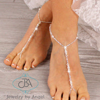 pearl barefoot sandals, pearl foot jewelry, wedding barefoot sandals