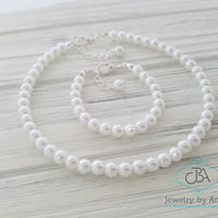 Classic Pearl Necklace, Baby Pearl Necklace, Little Girl Pearl Necklace, Flower Girl Pearl Necklace, Baby Christening Jewelry