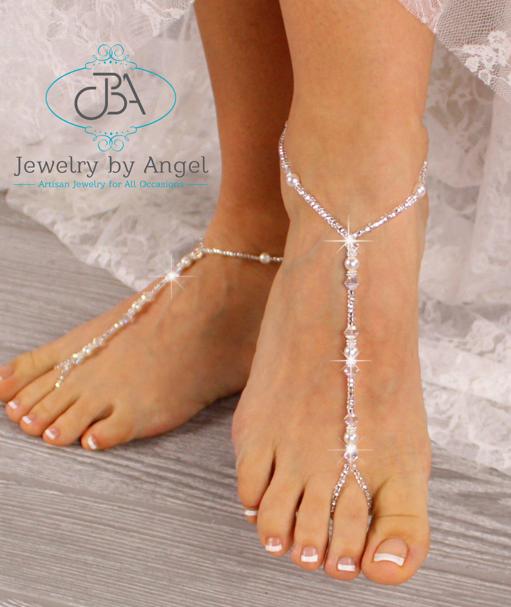 Pearl Wedding Barefoot Sandals Pearl Bridal Foot Jewelry Baby Girl Barefoot Sandals