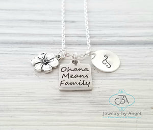 Ohana Necklace Personalized Family Necklace Silver Ohana Necklece
