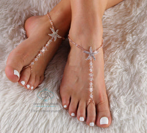 FLASH SALE Gold Starfish Barefoot Sandals Rose Gold Beaded Foot Jewelry Footless Sandal
