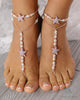 wedding barefoot sandals, gold foot sandals, beaded barefoot sandals, gold starfish sandals