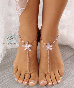Rose Gold Starfish Foot Jewelry Gold Barefoot Sandals Flower Girl Barefoot Sandals Gold Foot Jewelry