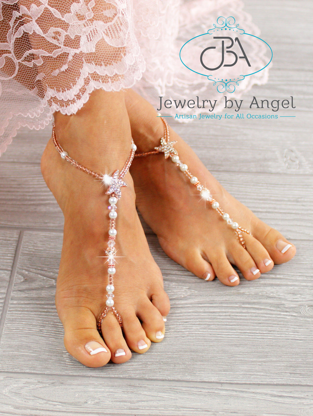 Rose Gold Starfish Barefoot Sandals Beaded Foot Jewelry Footless Sandal SFJ16