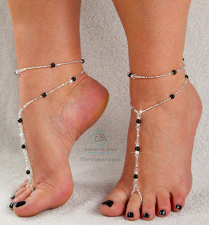 Beaded Barefoot Sandal Anklet Set Custom Color Foot Jewelry