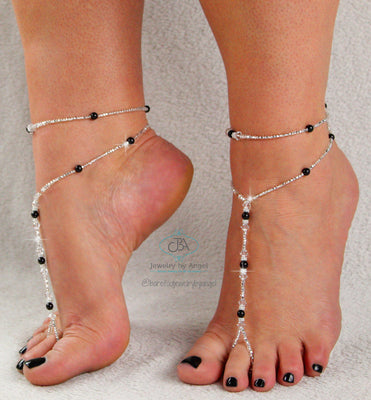 Copy of Beaded Barefoot Sandal Anklet Set Custom Color Foot Jewelry