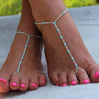 Custom Color Pearl Barefoot Sandals Beaded Foot Jewelry