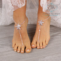 Silver Barefoot Sandals, Starfish Foot Jewelry, Beaded Footless Sandals, Wedding Foot Jewelry