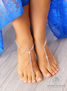 Silver Beaded Barefoot Sandals Destination Wedding Sandal Bridal Foot Jewelry BFJ21