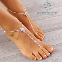 Silver Barefoot Sandals Baby Barefoot Sandals Flower Girl Barefoot Sandals Starfish Foot Jewelry