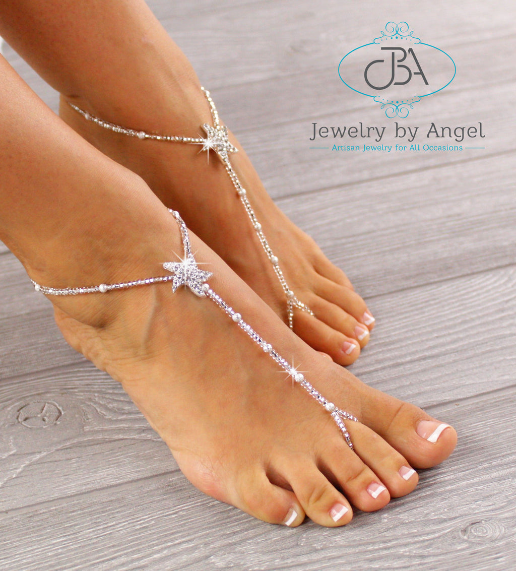 starfish barefoot sandals, wedding foot jewelry, wedding barefoot sandals