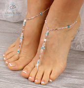 Turquoise Beaded Barefoot Sandals, wedding barefoot sandals