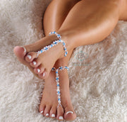 Blue Crystal Barefoot Sandals Something Blue Foot Jewelry Beaded Wedding Sandals