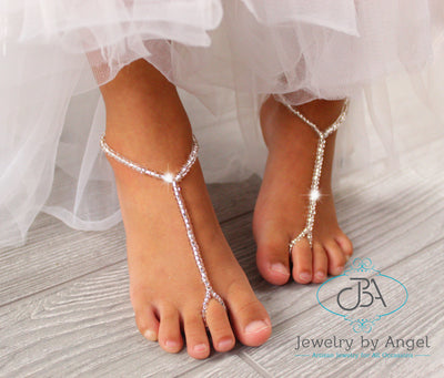 Baby Barefoot Sandals Silver Beaded Sandals Wedding Barefoot Sandals Bridal Foot Jewelry