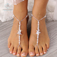 wedding barefoot sandals, starfish foot jewelry, beaded barefoot sandals