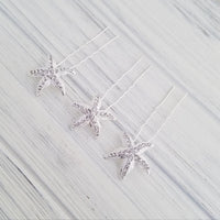 Silver Starfish Hair Pin Rhinestone Starfish Hair Pin Starfish Hair Accessory