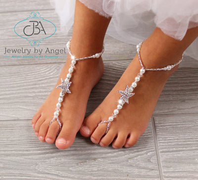pearl barefoot sandals, baby pearl barefoot sandals, wedding foot jewelry, starfish barefoot sandals