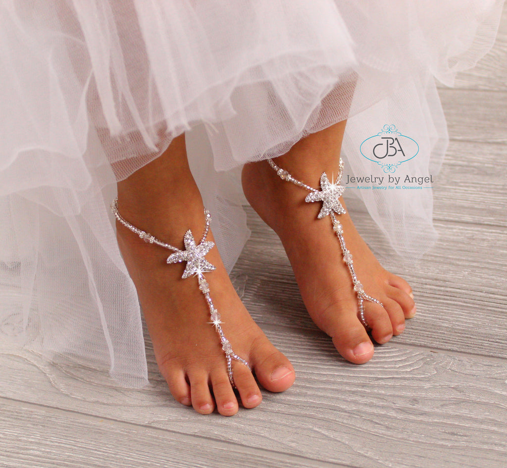 Flower Girl Barefoot Sandals Beach Wedding Starfish Barefoot Sandals Bridesmaid Foot Jewelry
