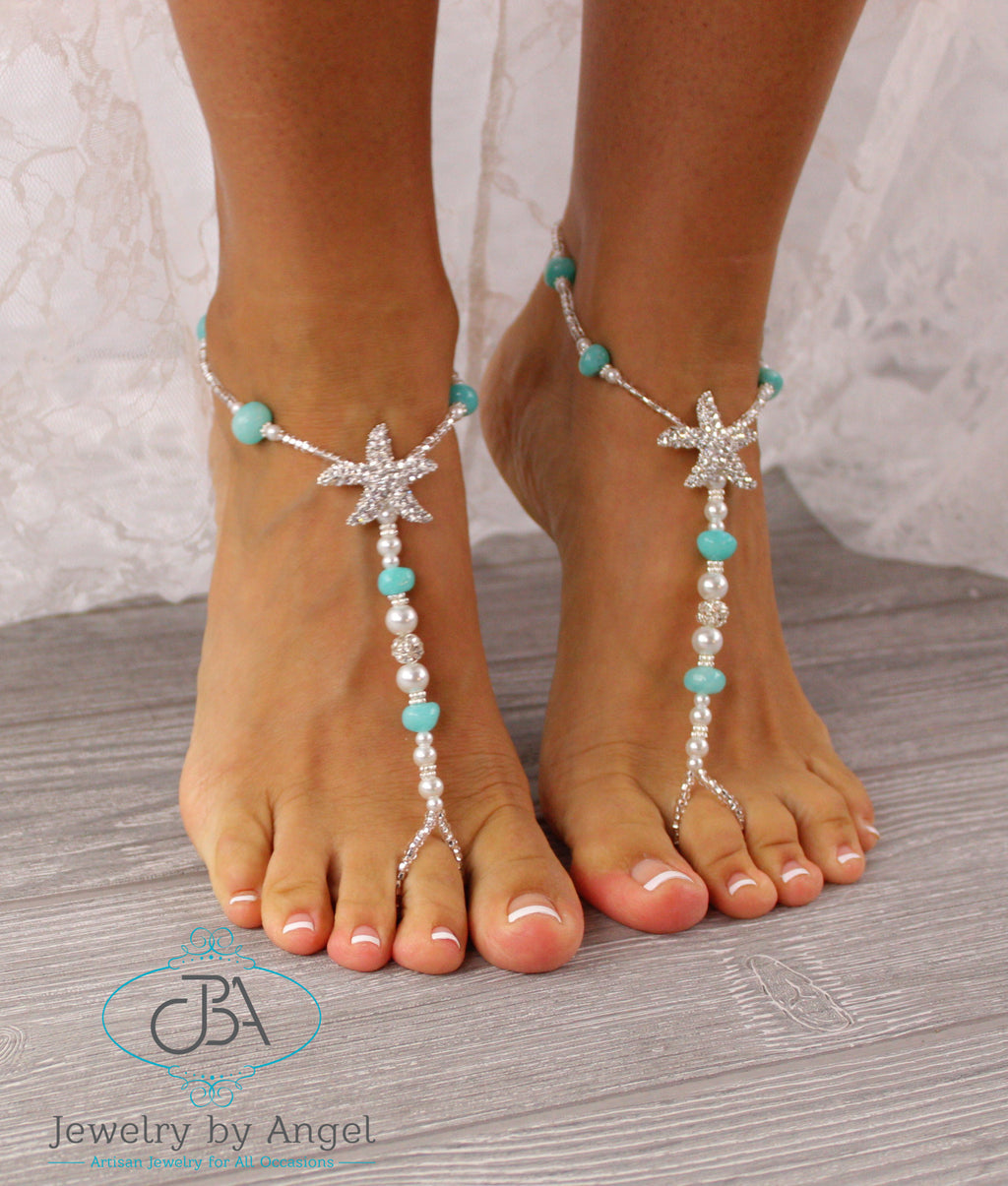 Turquoise Gemstone Starfish Barefoot Sandal Beach Wedding Starfish Foot Jewelry SFJ5