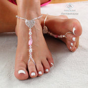 Heart Charm Barefoot Sandals Beaded Foot Jewelry