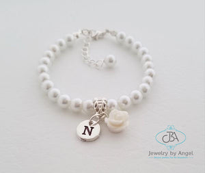 Personalized Flower Girl Bracelet, Baby Pearl Bracelet, Flower Girl Jewelry, Children's Bracelet