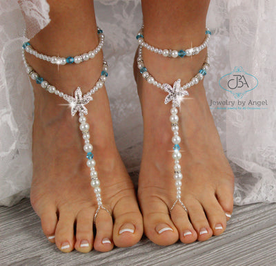 Beaded Barefoot Sandals, Turquoise Starfish Barefoot Sandals, Bridal Foot Jewelry, Beach Wedding Barefoot Sandals
