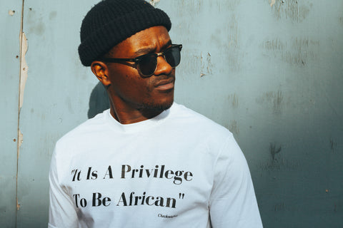 "CA ""It Is A Privilege To Be African"" Cotton T-Shirt in Black in White"