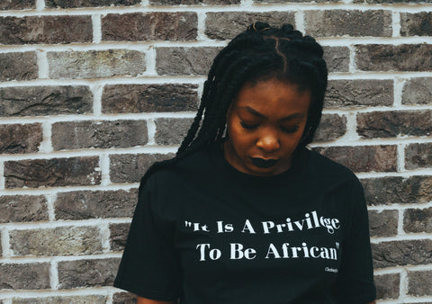 "CA ""It Is A Privilege To Be African"" Cotton T-Shirt in Black"