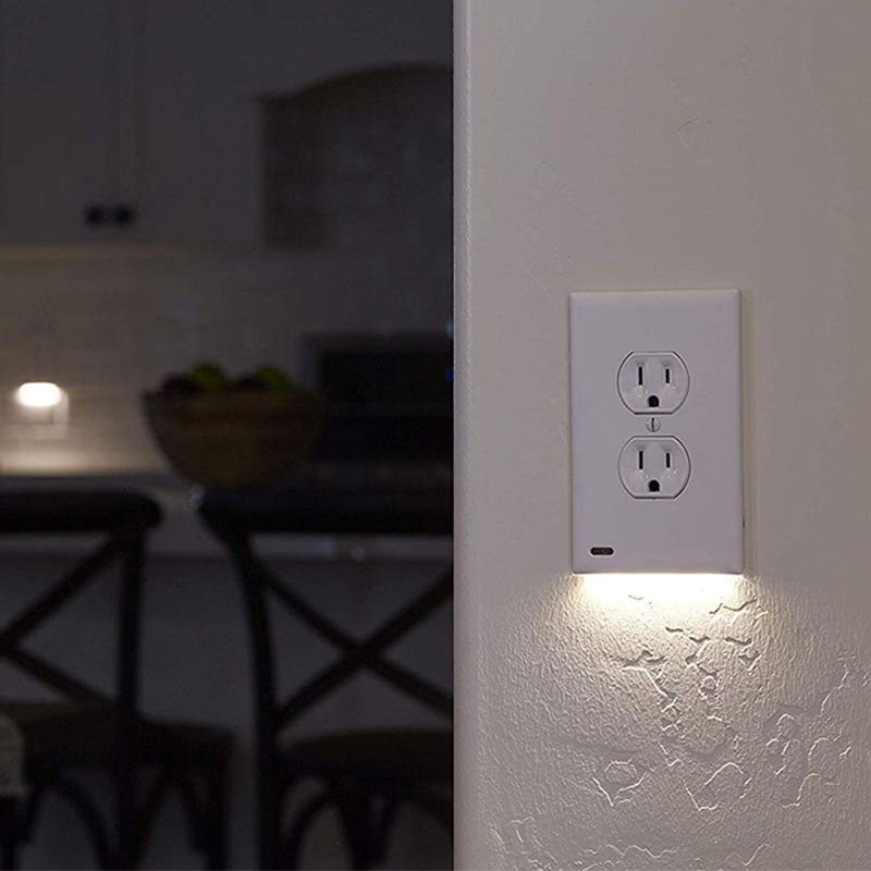 Outlet Wall Plate Cover With LED Light(White, 1 pack)